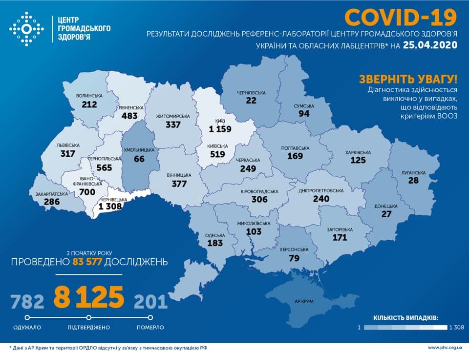 Коронавірус в Україні карта на 25 квітня / facebook.com/phc.org.ua