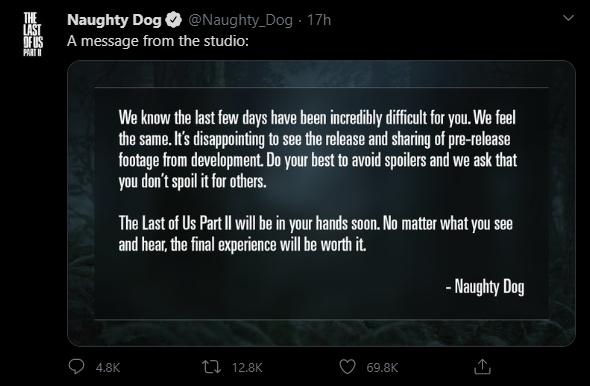 Твит Naughty Dog