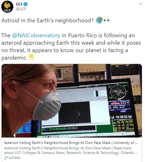 """Астероид в маске подлетел к Земле: NASA показало на видео """"космического пришельца"""""""