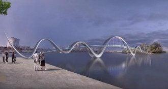 У Києві побудують пішохідний міст у вигляді хвиль. Він з'єднає Оболонську набережну з парком