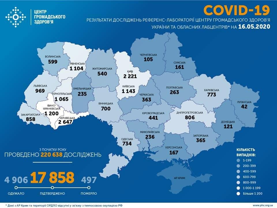 Коронавирус в Украине 16 мая - карта / facebook.com/phc.org.ua