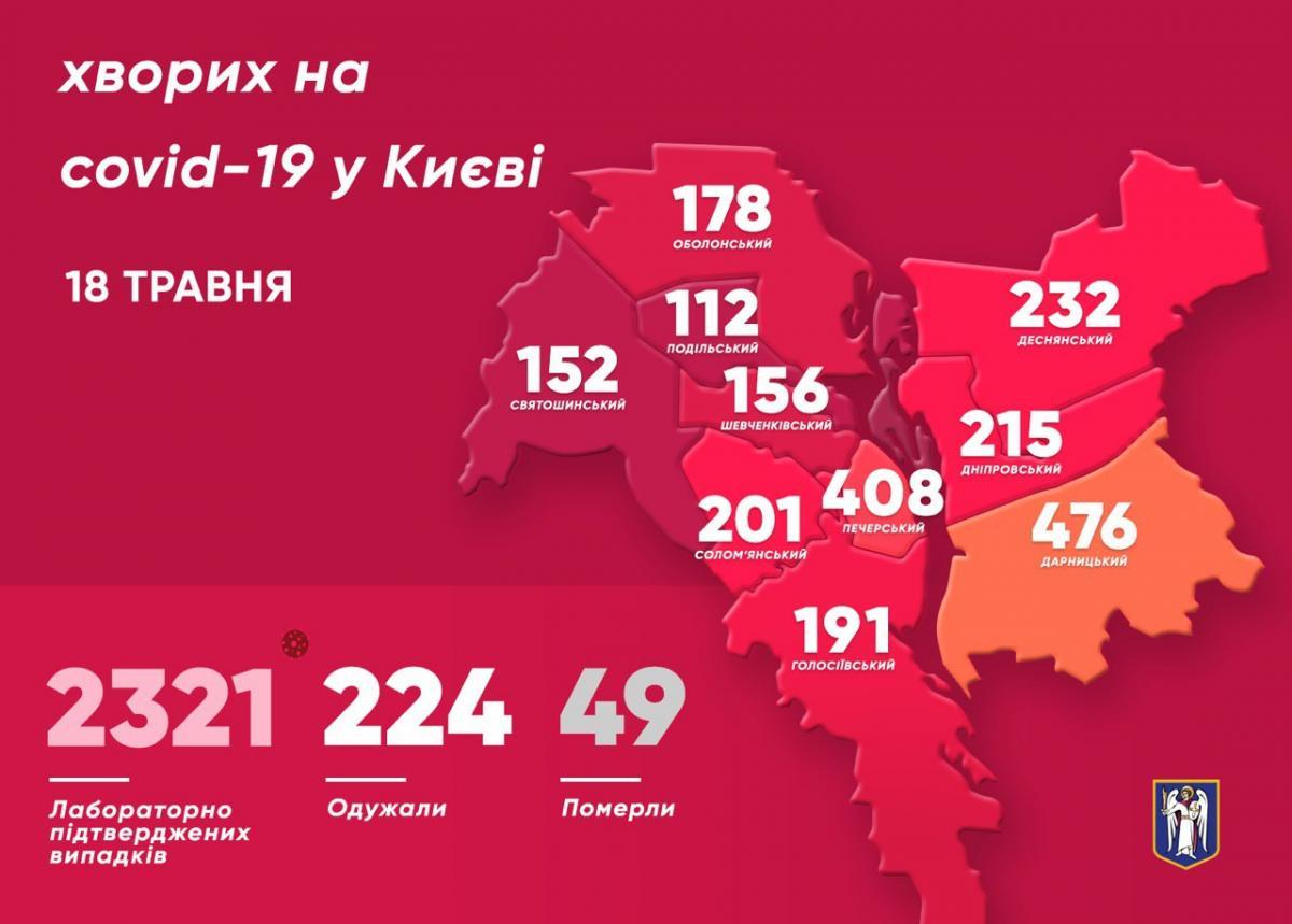 Коронавирус в Киеве 18 мая - карта