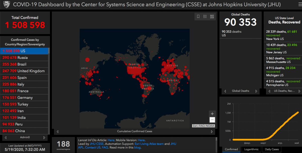 Коронавірус у США - статистика 19 травня / gisanddata.maps.arcgis.com