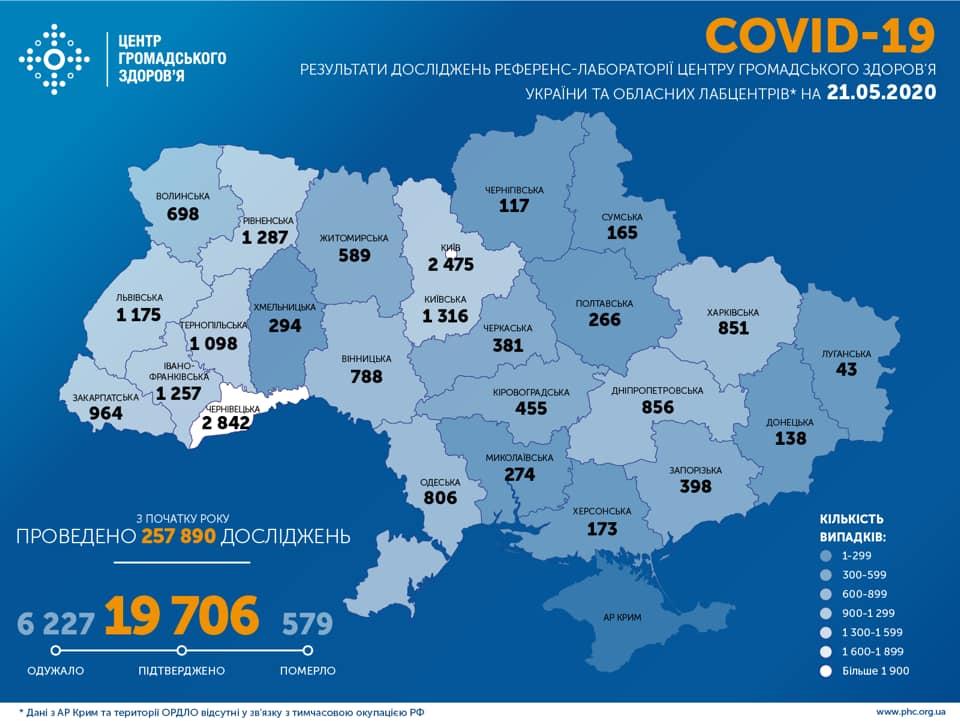 Коронавірус в Україні 21 травня - карта / facebook.com/phc.org.ua