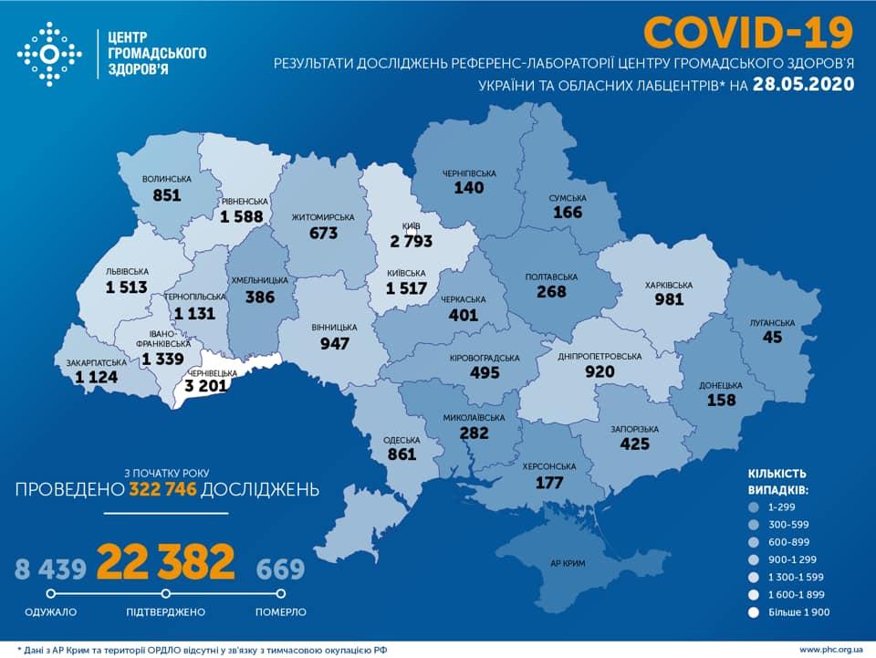 Коронавирус в Украине 28 мая - карта