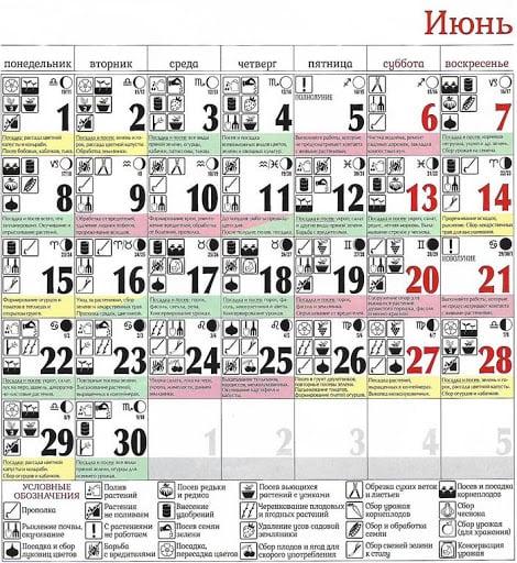 Лунный посевной календарь на июнь 2020 года таблица