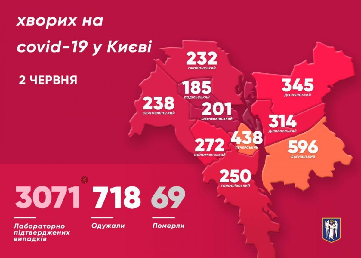 Коронавирус в Киеве 2 июня — карта