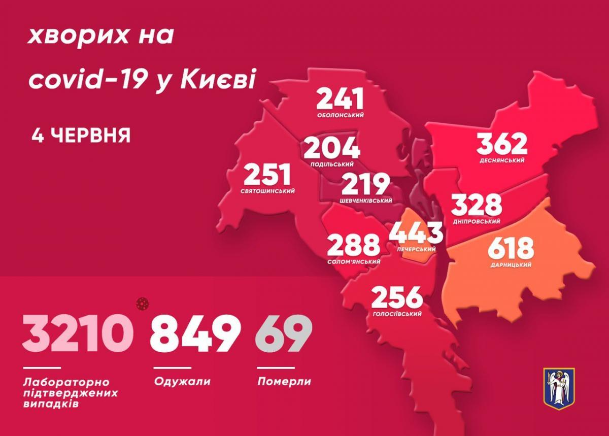 Коронавірус у Києві 4 червня - карта