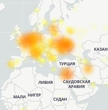 Именно так выглядела карта сбоя Telegram 7 июня / Downdetector