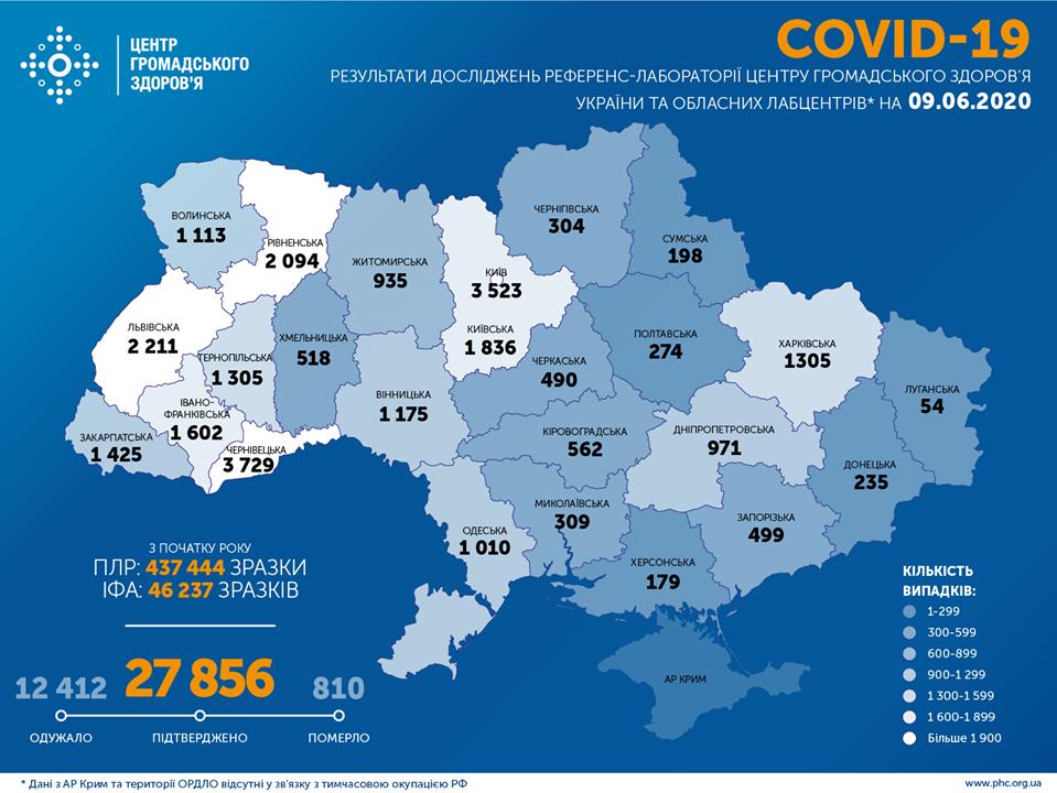Коронавірус в Україні 9 червня - карта