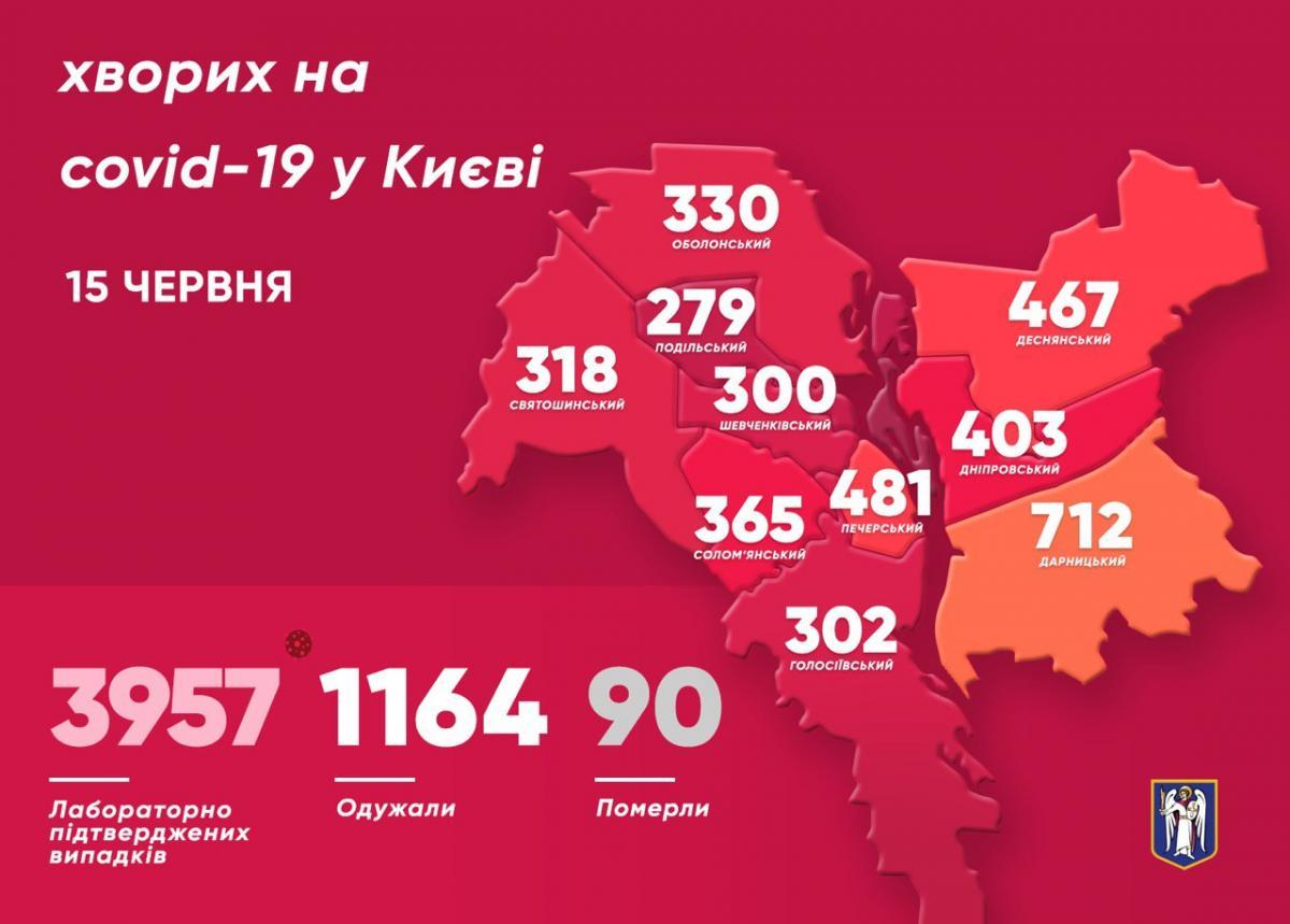 Коронавирус в Киеве 15 июня - карта