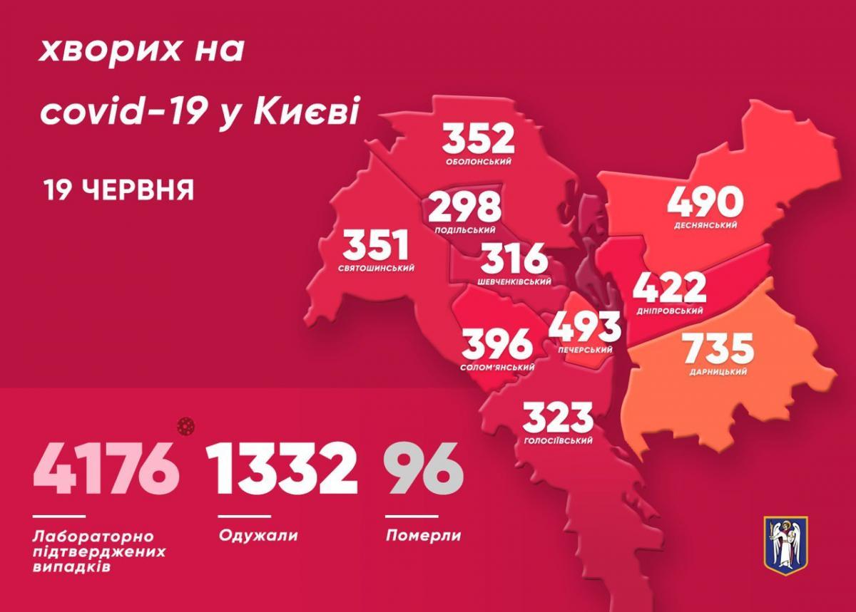 Коронавірус у Києві 19 червня - карта