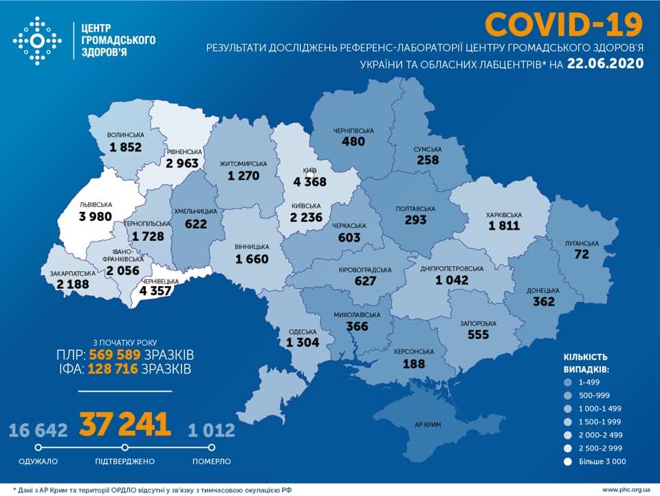 Коронавірус в Україні 22 червня - карта