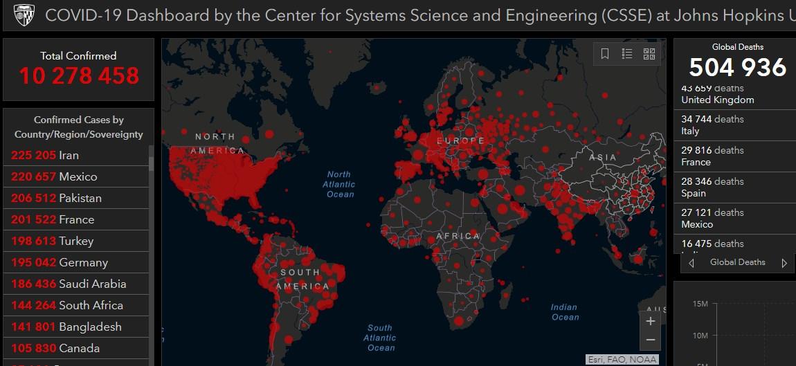 Коронавирус в мире - карта на 30 июня / gisanddata.maps.arcgis.com