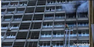 Горит здание Киевпроекта / Фото: Громадське ТВ