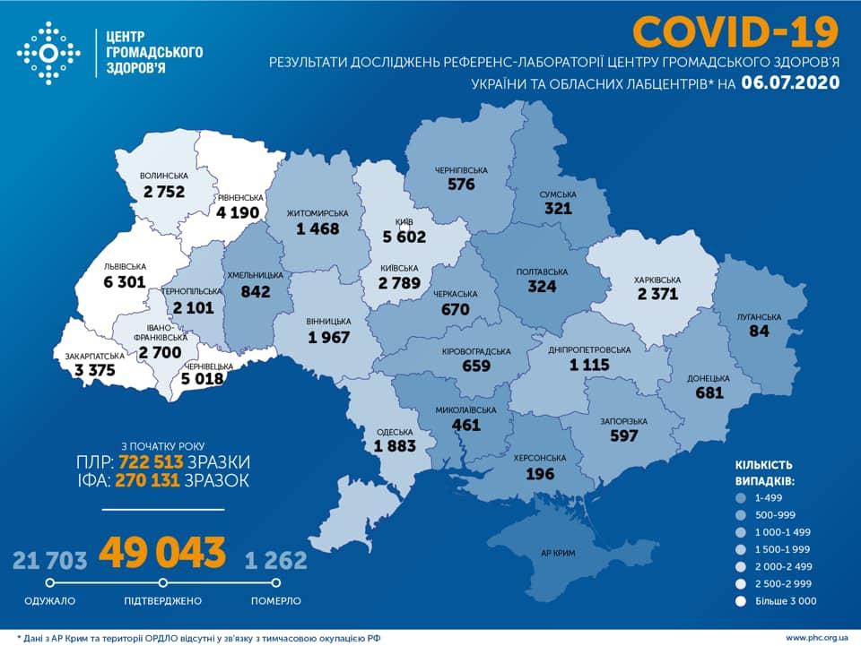 Коронавірус в Україні 6 липня - карта