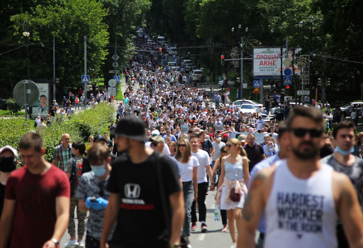 Антипутинские протесты в Хабаровске