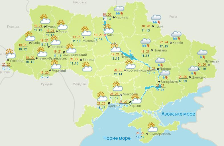 Прогноз погоди на 14 липня