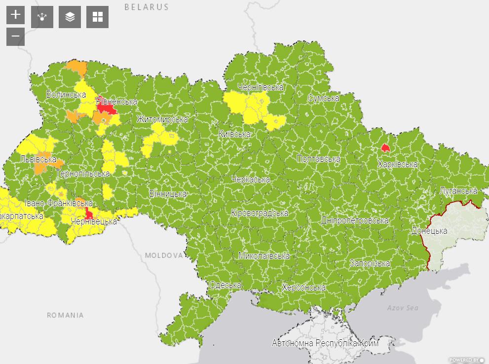 Эпидемиологическая карта Украины на 7 августа