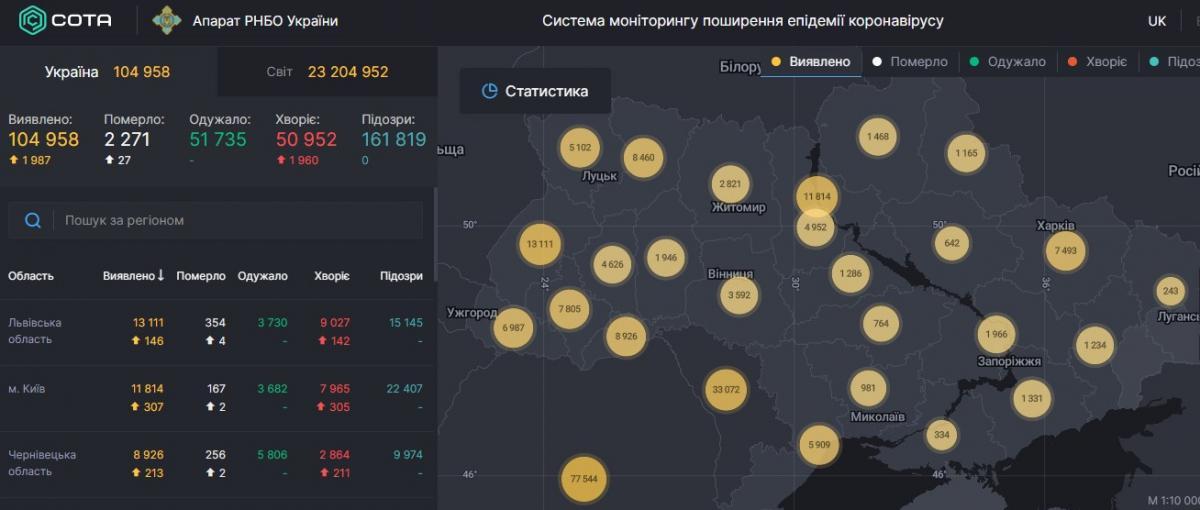 Коронавірус в Україні - карта на 23 серпня / РНБО