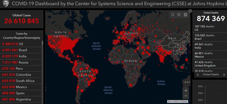 Коронавирус в мире - карта на 5 сентября / Центр Джона Хопкинса