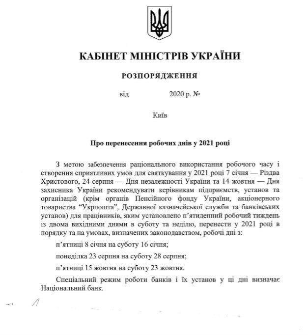 Свята 2021 - як Рада перенесла вихідні 2021 в Україні-розпорядження кму Про перенесення робочих днів у 2021 році
