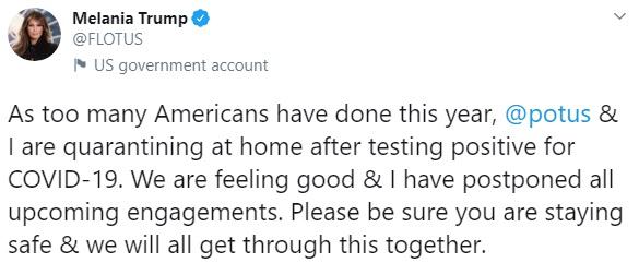 Жена Трампа рассказала о своем заражении коронавирусом