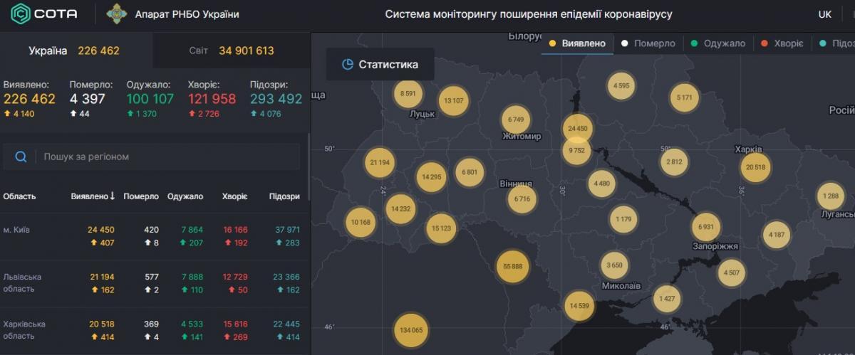 Коронавірус в Україні - карта на 4 жовтня / РНБО