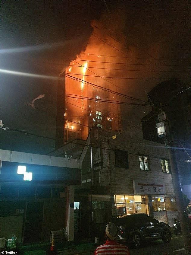 В Южной Корее горит 33-этажный дом