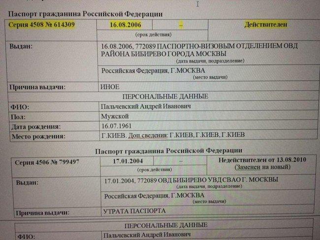 У Андрея Пальчевского нашли гражданство РФ