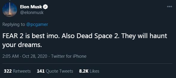 Илон Маск назвал свои любимые видеоигры, в которые стоит поиграть на Хэллоуин