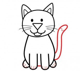 С помощью всего нескольких простых шагов вы сможете рисовать милого мультяшного кота.