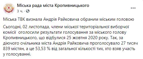 В Тернополе, Мариуполе и Кропивницком мэры сохранили должность после выборов