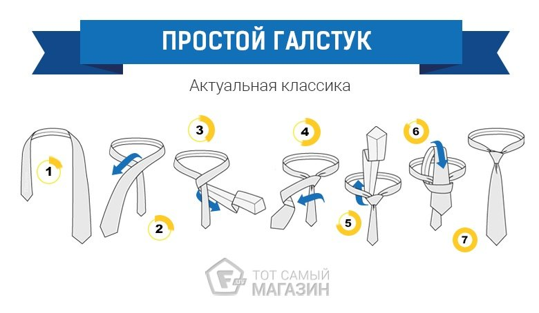 как завязать галстук классический узел