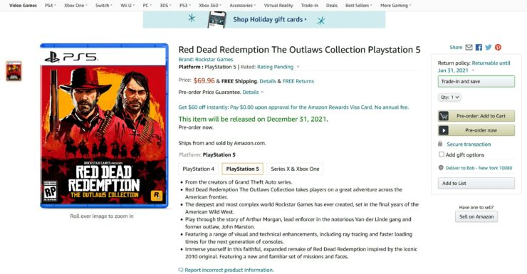 Сборник Red Dead Redemption: The Outlaws Collection засветился на Amazon