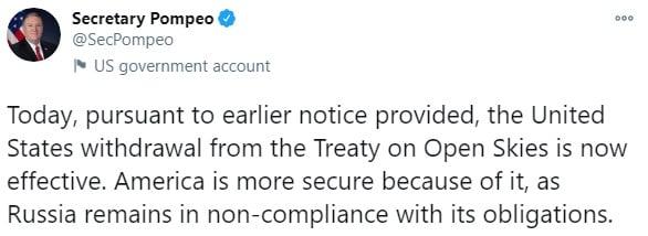 США разорвали Договор по открытому небу и выдвинули громкое обвинение против РФ