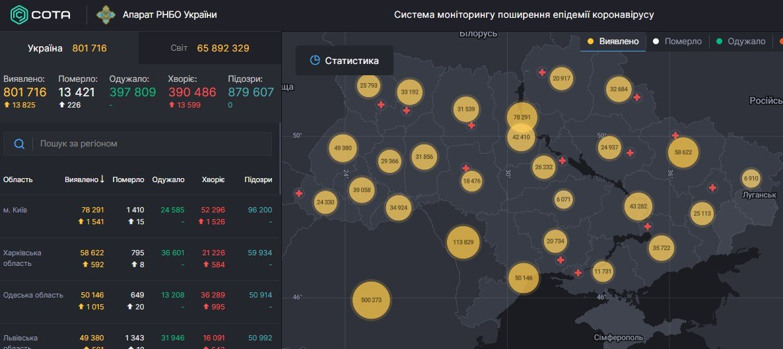 Коронавирус в Украине - карта на 5 грудня / СНБО