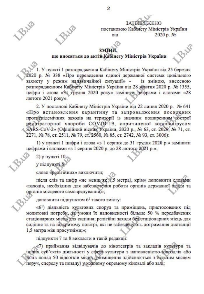 Локдаун в Украине 2021 – проект постановления