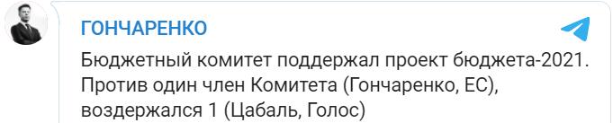 Комитет Рады поддержал проект госбюджета-2021