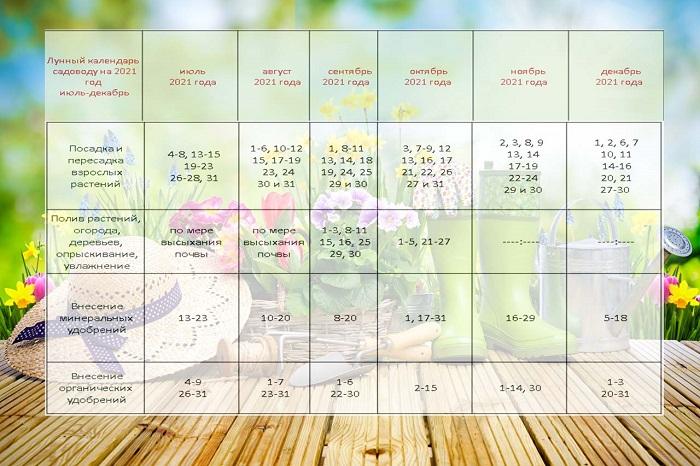Місячний посівний календар на 2021 рік таблиця на друге півріччя