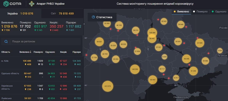 Коронавірус в Україні - карта на 26 грудня / РНБО
