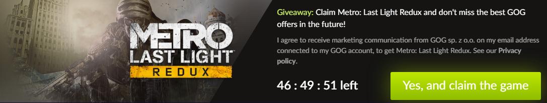 Халява от CD Projekt Red – в сервисе GOG бесплатно раздают украинский шутер Metro: Last Light