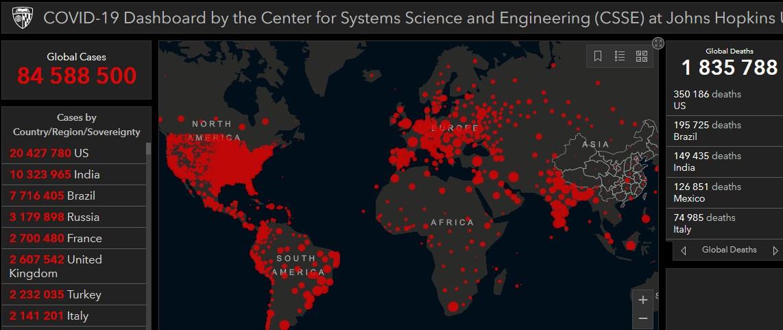 Коронавирус в мире - карта на 3 января / Центр Джона Хопкинса