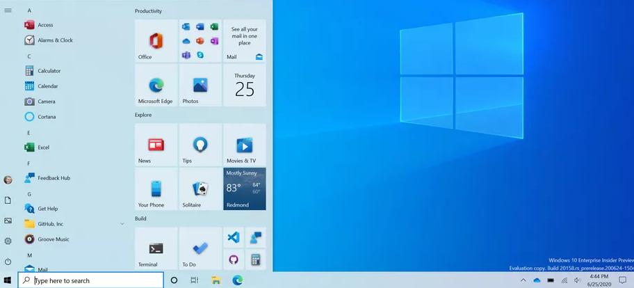 Windows 10 стартовое меню / Microsoft