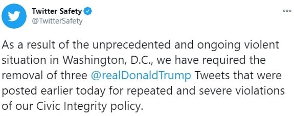 Удар по Трампу:  Twitter, Facebook и Instagram забанили президента США