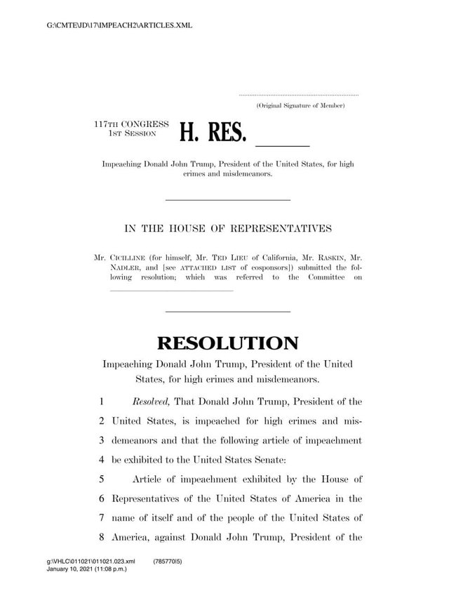 Резолюция об импичменте Дональда Трампа