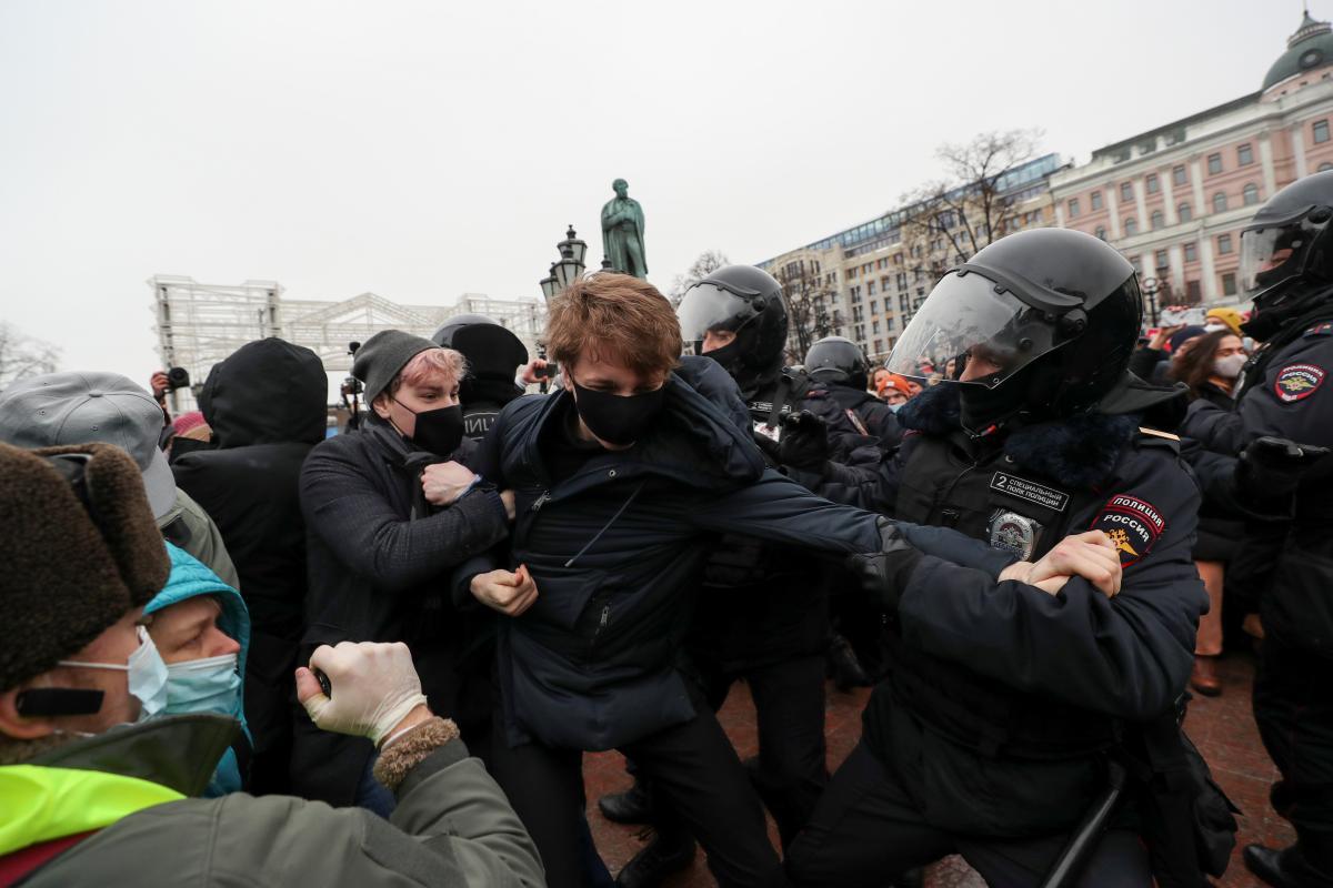 В Москве на акции протеста в поддержку Алексея Навального задержаны сотни человек
