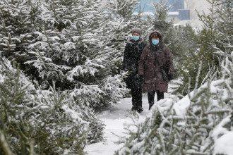 коронавирус, маска, зима, снег