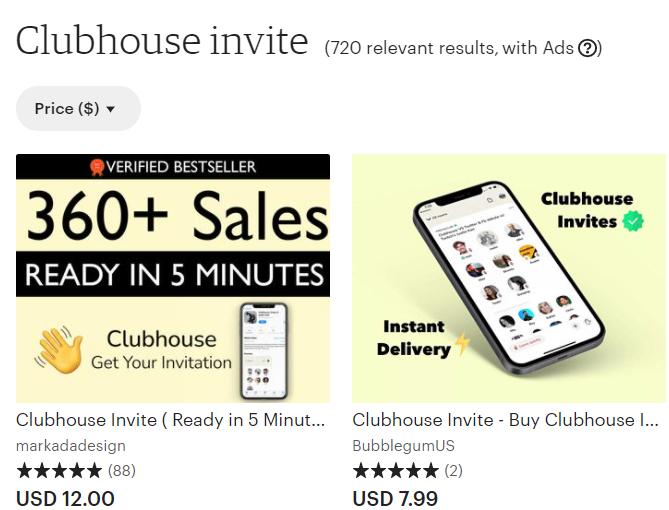 В Сети до сих пор продают приглашения в Clubhouse / Скриншот