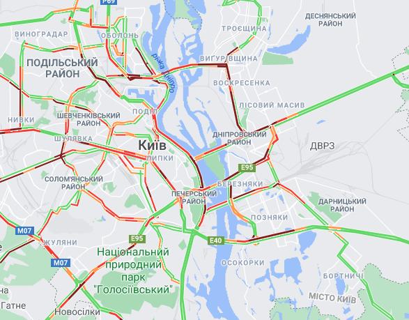 Пробки в столице 5 апреля